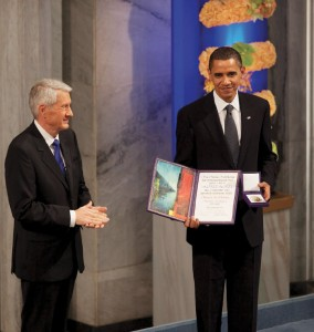Nobel Committee Chairman Thorbjorn Jagland presents President Barack Obama with the Nobel Prize medal and diploma during the Nobel Peace Prize ceremony at Oslo City Hall in Oslo, Norway, Dec. 10, 2009. Mr. Obama was nominated for the prize just weeks after taking office, based on a series of speeches he had made on diplomacy.