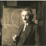 Albert Einstein, who won a Nobel for Physics in 1919, shown during a lecture in Vienna in 1921.
