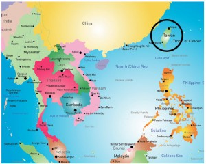 The small island of Taiwan (located on the top right of this map) trades, competes and has territorial disputes with China, which makes no secret of its goal to absorb or take over Taiwan.