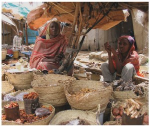 Sudan 2008: A mother and daughter selling their wares at a simple street  market in Dilling