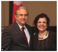 Pakistani High Commissioner Akbar Zeb and his wife, Fakhri Akbar Zeb, hosted a reception to celebrate Pakistan Day. Mr. Zeb is shown with Senator Mobina Jaffer.