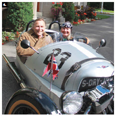 Norwegian Ambassador Mona Brother and her husband, Asmund Baklien, at their residence before taking off in their three-wheeler Morgan (the first and only one in Canada, made in 1911.) (Photo: Ulle Baum)
