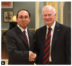 Gov. Gen. David Johnston accepted credentials from U.S.-based Cambodian Ambassador Tuy Ry. (Photo: Sgt. Ronald Duchesne, Rideau Hall)
