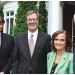 Austrian Ambassador Arno Riedel hosted a reception to thank sponsors of the Viennese Ball. From left, ball chairman Jim Hall, Mayor Jim Watson, Loretta Loria-Riedel and Mr. Riedel. (Photo: Ulle Baum)