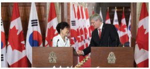 Korean President Park Geun-hye came to Ottawa in September 2014 to ink a free-trade deal with Prime Minister Stephen Harper.