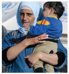 A woman and child at Za'atri refugee camp in Jordan.
