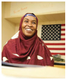 A Somali woman in an elementary school classroom in Sioux Falls, South Dakota.