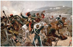 British cavalry charging against Russian forces at the Balaclava.