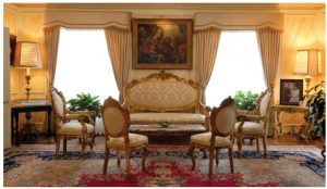 The Holy See purchased much of the furniture previously owned by the Wilsons, and then rounded out its decor with items from the Vatican Museum.