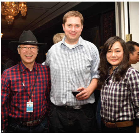 House of Commons Speaker Andrew Scheer hosted a reception at the Diplomatic Forum in Regina. Mr. Scheer, centre, is shown here with Thai Ambassador Pisan Manawapat and his wife, Wanchana Manawapat. (Photo: D3 Imaging)