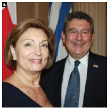 On the 189th anniversary of the declaration of independence, Uruguayan Ambassador Elbio Rosselli and his wife, Regina, hosted a reception. (Photo: Ulle Baum)