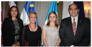To mark the 193rd anniversary of the independence of Central America, the ambassadors and chargé d'affaires held a reception. From left, Costa Rican chargé d'affaires Eliana Villalobos Cardenas, Guatemalan Ambassador Rita Claverie Diazde Sciolli, Honduran Ambassador Sofia Cerrato and Salvadoran Ambassador Oscar Mauricio Duarte Granados. (Photo: Ulle Baum)