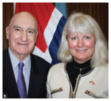 Norwegian Ambassador Mona E. Brøther spoke at Carleton University's Ambassadors Speaker Series organised by retired Canadian Ambassador Lawrence Lederman, left. (Photo: Ulle Baum)