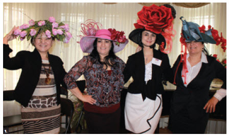 The European Heads of Mission Spouses' Association (HOMSA) held an event to welcome new diplomats and their spouses at the home of Maria Yeganian, wife of the Armenian ambassador. From left: Indira Zhigalova (Kazakhstan), hat designer Emma Nersisyanm, Ms Yeganian and hat designer Gayane Nersisyan took part in a floral hat show by Montreal's Fleurs Glamour. (Photo: Ulle Baum)