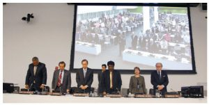 Speakers at a World Press Freedom Day event at the UN, observe a minute of silence in honour of those who have given their lives defending the right of people everywhere to be informed. Secretary General Ban Ki-moon is second from the left.