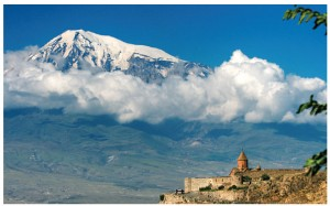 Khor Virap Monastery in Armenia, on the border between Turkey and Armenia, faces Mount Ararat.