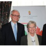 The embassy of Hungary hosted a reception to mark the 58th anniversary of the Hungarian Revolution of October 1956. From left: Hungarian Ambassador Balint Odor; Peter M. Boehm, associate deputy minister of Foreign Affairs; EU Ambassador Marie Anne Coninsx and Péter Szijjárto, Hungary's minister of foreign affairs and trade. (Photo: Ülle Baum)