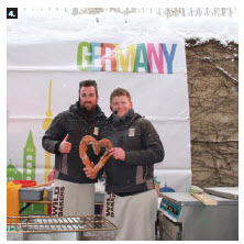 Germany's Wild Bakers, Jörg Schmid and Johannes Hirth, pose with their heart-shaped bread after an extreme baking demonstration at the German embassy's Winterlude show. (Photo: Ülle Baum)