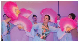To mark International Women's Day, the Chinese embassy hosted an event featuring cultural performances  presented by female diplomats as well as musicians, singers and dancers. Jiang Yili, wife of the Chinese ambassador, centre, leads the one of the dances. (Photo: Ülle Baum)