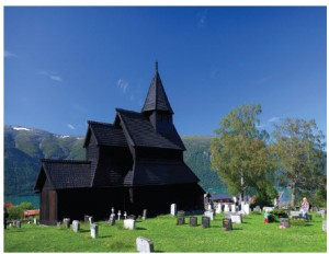 The nearly 1,000-year-old Borgund Stave Church features Viking-age woodcarvings and building methods.