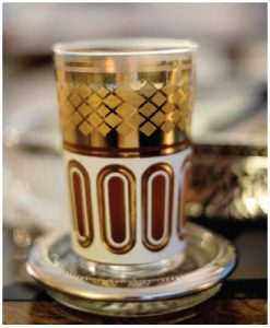 The home features several typical Tunisian treasures, including a set of these tea cups. (Photo: Dyanne Wilson)