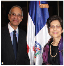 Dominican Republic Ambassador Hector Virgilio Alcantara Mejia and his wife, Eunice Brigida Lluberes de Alcantara, hosted a national day event at Ottawa City Hall. (Photo: Ulle Baum)
