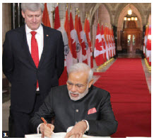 Indian Prime Minister Narendra Modi paid a state visit to Ottawa. He's seen here with Prime Minister Stephen Harper. (Photo: Sam Garcia)