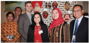 The embassy of Indonesia will open the doors to its embassy once a month in 2015. This event took place on one such occasion. From left: Fientje M. Suebu, Sylistya Widayanta, David Fairchild, Maria Yulli, Suwartini Wirta and Agoes Soebagio. (Photo: Ulle Baum)
