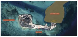 Earlier this year, U.S. officials contended that China is piling sand on reefs in the South China sea to create island inlets in the region, augmenting already existing tensions. (Photo: Airbus Defence and Space imagery)