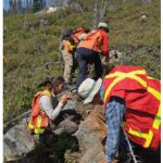 Junior mining exploration geologists examine a possible find. (Photo: Eastmain Resources, Inc.)
