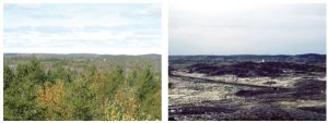 The Sudbury regreening effort is pictured here. The photo on the right shows the Coniston Hydro Road in 1981 and at left is the same road in 2008. (Photo: Nicole Marzok (ICLEI Canada))