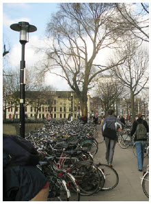 Bicycle parking lots are busy places in the Netherlands.