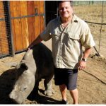 Writer Jim Parker at the Care For Wild Africa rhinoceros sanctuary.