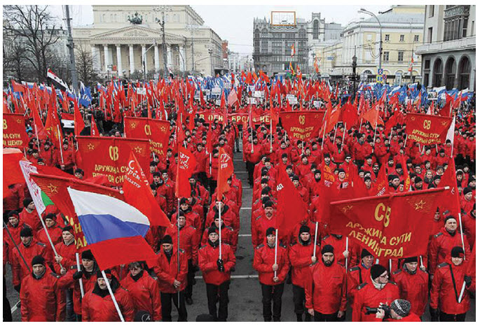 Pro-Putin nationalists march in Moscow in front of the Bolshoi Theatre.