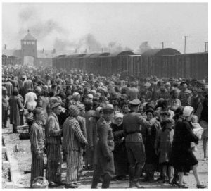 Hungarian Jews on the ramp at the death camp Birkenau in Poland during German occupation in 1944.