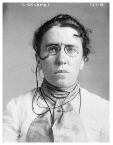 A 1901 police mug shot of Emma Goldman, the anarchist and women's rights advocate