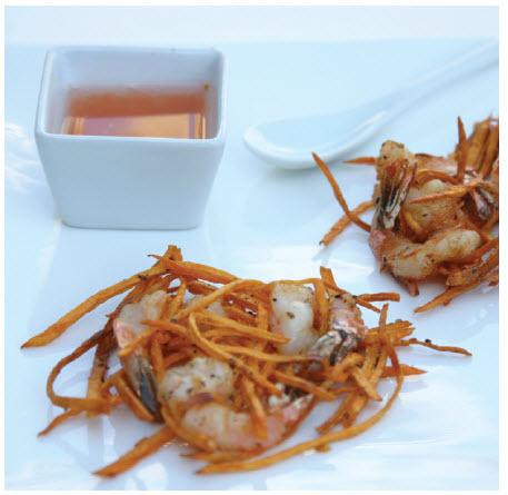 Shrimp and sweet potato fritters (Photo: Larry Dickenson)
