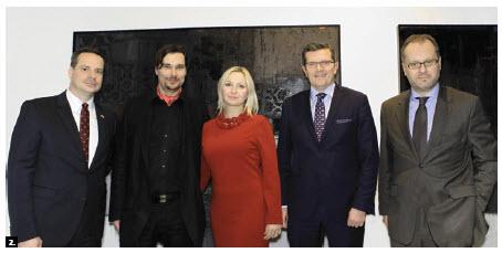 Slovak Ambassador Andrej Droba, artist Dominik Sokolowski, gallery director Edith Betkowski, Polish Ambassador Marcin Bosacki and Serbian Ambassador Mihailo Papazoglu at a vernissage at Alpha Art Gallery co-hosted with the Embassy of Poland. (Photo: Lois Siegel)