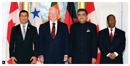 Gov. Gen. David Johnston received credentials from Panamanian Ambassador Alberto Arosemena Medina, Sri Lankan High Commissioner Ahmed Aflel Jawad and Malawian Ambassador Necton Darlington Mhura. (Photo: Sgt. Ronald Duchesne)
