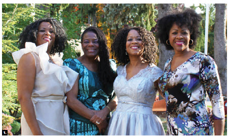 Barbados High Commissioner Yvonne Walkes hosted a tea party fundraiser for the The Errol Borrow Memorial Trust of Canada at her residence. From left, Esther Charles, Walkes, Eunice Charles and fashion designer Sara Charles Waterman. (Photo: Ülle Baum)