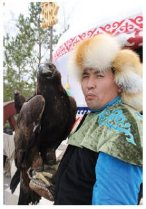 A Kazakh native holds his eagle at Zheruik, an ethno-village. (Photo: Ülle Baum)