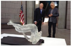 Artist Eric Fischl shows U.S. Ambassador Bruce Heyman his sculpture, Tumbling Woman, which was inspired by the events of 9/11. (Photo: Embassy of the United States)