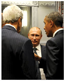 Russian President Vladimir Putin met with U.S. President Barack Obama and Secretary of State John Kerry on the margins of the UN General Assembly. (Photo: President of the Russian Federation)