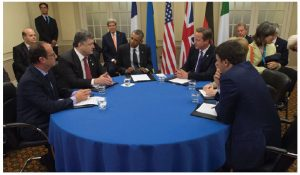 U.S. Secretary of State John Kerry joins U.S. President Barack Obama for a meeting with Ukrainian President Petro Poroshenko before the NATO summit in Wales. Ambassador Darchiev doesn't welcome NATO expansion toward Russia (Photo: U.S. Department of State)