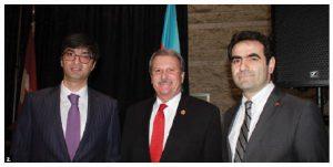 The Embassy of Azerbaijan celebrated World Azerbaijani Solidarity Day with members of the diaspora from Ottawa, Montreal and Toronto at Ottawa City Hall. From left: Azerbaijani chargé d'affaires Ramil Huseynli, MPP Jack MacLaren and Turkish Ambassador Selçuk Ünal. (Photo: Ülle Baum)