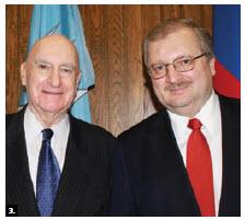 Convenor Larry Lederman and Russian Ambassador Alexander Darchiev, after the latter spoke at Carleton University's Norman Paterson School of International Affairs Speakers Series. (Photo: Ülle Baum)