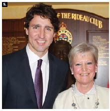 In honour of 40 years of the European Union's official presence in Canada, EU Ambassador Marie-Anne Coninsx hosted a reception at the Rideau Club. Prime Minister Justin Trudeau joined the festivities. (Photo: Ülle Baum)