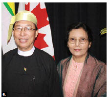 On the occasion of the Anniversary of the 68th Independence Day of Myanmar, Ambassador Hau Do Suan and his wife, Nwe Nwe Aye, hosted a reception at Ottawa City Hall. (Photo: Ülle Baum)