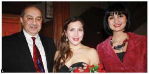 Armenian Ambassador Armen Yeganian, left, and his wife, Maria, right, presented an evening of songs of love at the embassy and featured award-winning Canadian Opera Company soprano Sasha Djihanian, centre, and renowned tenor Eli Berberian. (Photo: Ülle Baum)