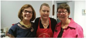 Penny Tucker, wife of former New Zealand High Commissioner Simon Tucker, showed her appreciation to the International Women's Club of Ottawa by organizing a wine and cheese tasting. From left, Deborah Watkins, Tucker and Sue Roeterink. (Photo: Nermine Fahmy)